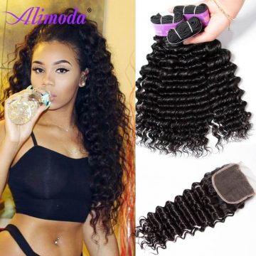 alimoda hair deep wave hair bundles with closure