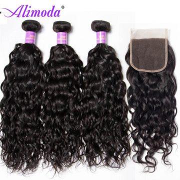 Ali moda hair water wave bundles with closure
