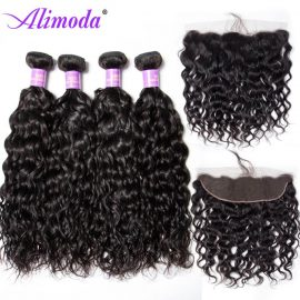 Ali moda hair water wave bundles with frontal