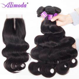 Alimoda hair body wave bundles with closure