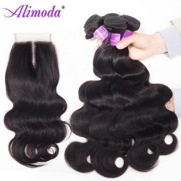 Alimoda hair body wave bundles with closure