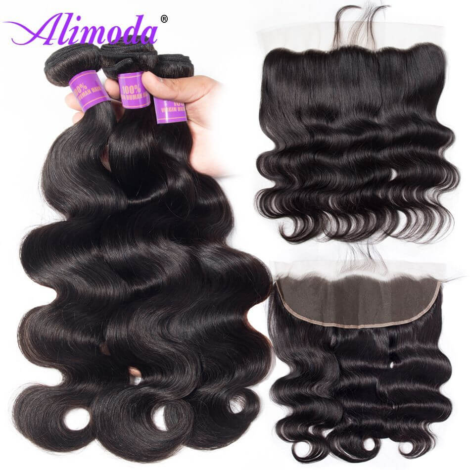 Alimoda hair body wave bundles with frontal