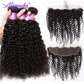 alimoda curly hair bundles with frontal