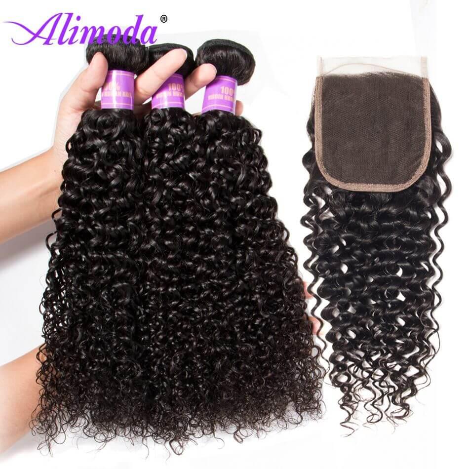 alimoda curly hair bundles with closure