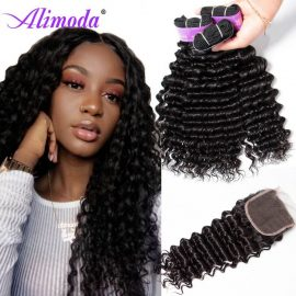 alimoda hair deep wave hair bundles with closure