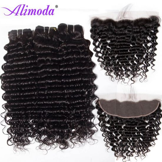 alimoda hair deep wave hair bundles with frontal