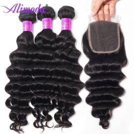alimoda hair loose deep wave bundles with closure