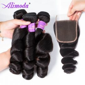 alimoda hair loose wave bundles with closure