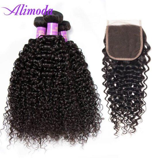 alimoda hair curly wave 3 bundles with closure