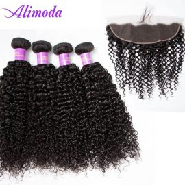 alimoda hair curly wave 4 bundles with frontal