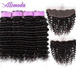alimoda hair deep wave 4 bundles with frontal
