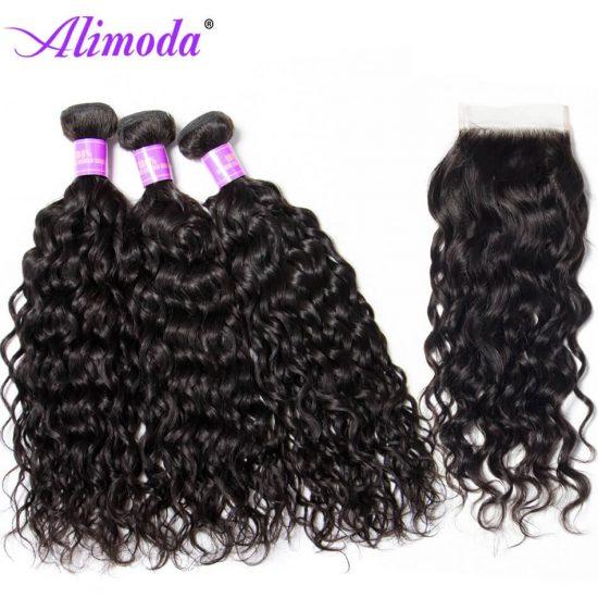 Ali moda hair water wave bundles with closure 6