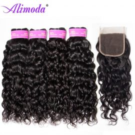 Ali moda hair water wave bundles with closure 7