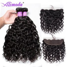 Ali moda hair water wave bundles with frontal 4