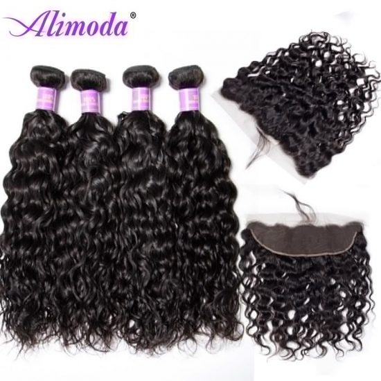 Ali moda hair water wave bundles with frontal 5
