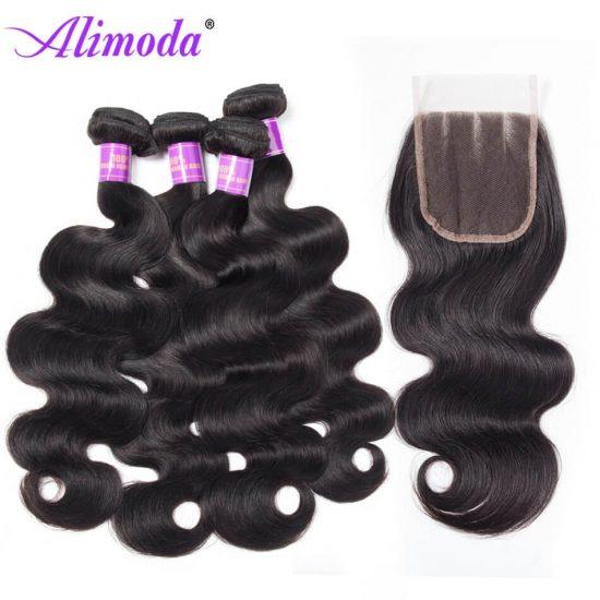 alimoda hair body wave bundles with closure 8