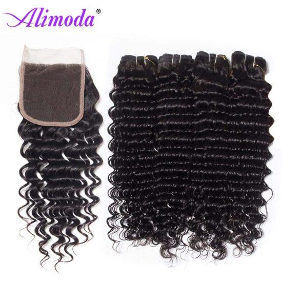 alimoda hair deep wave hair bundles with closure 7