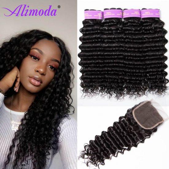 alimoda hair deep wave hair bundles with closure 8