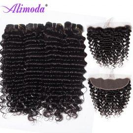 alimoda hair deep wave hair bundles with frontal 4
