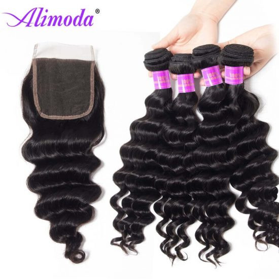 alimoda hair loose deep wave bundles with closure 4