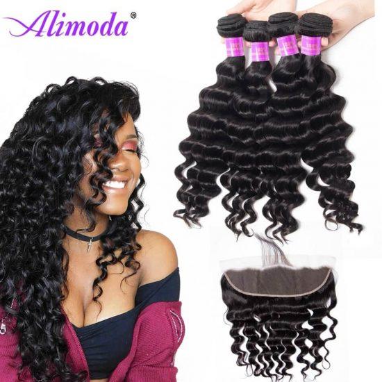 alimoda hair loose deep wave bundles with frontal 4