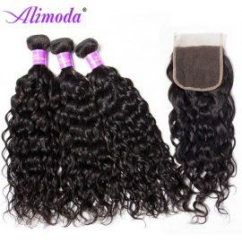 Ali moda hair water wave bundles with closure 8