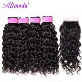 Ali moda hair water wave bundles with closure 9