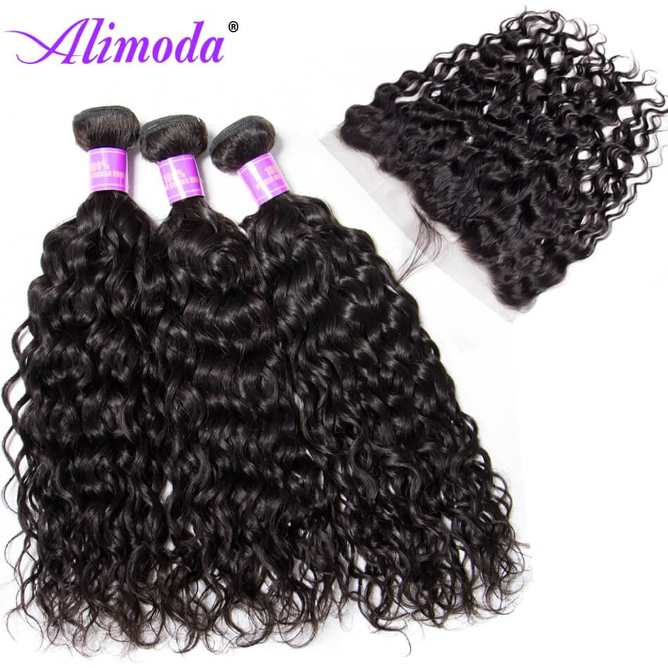 Ali moda hair water wave bundles with frontal 6