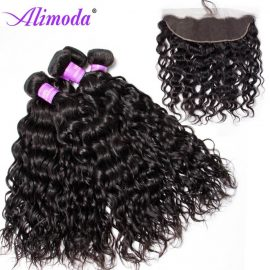Ali moda hair water wave bundles with frontal 7