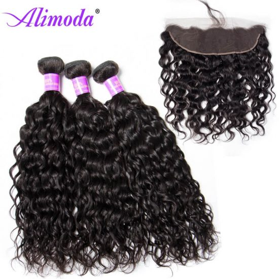 Ali moda hair water wave bundles with frontal 8