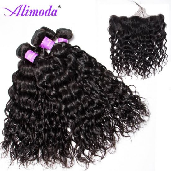 Ali moda hair water wave bundles with frontal 9