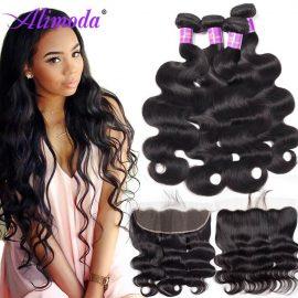 Alimoda hair body wave bundles with frontal 6