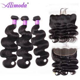 Alimoda hair body wave bundles with frontal 7