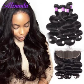 Alimoda hair body wave bundles with frontal 8