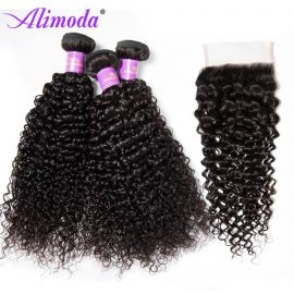 alimoda curly hair bundles with closure 4