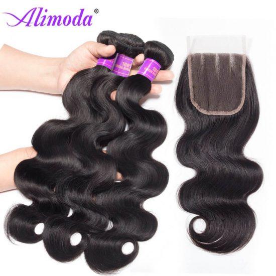 alimoda hair body wave bundles with closure 10