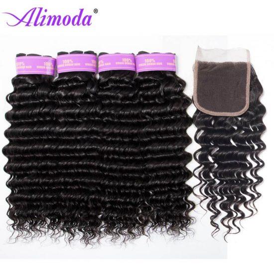 alimoda hair deep wave hair bundles with closure 10
