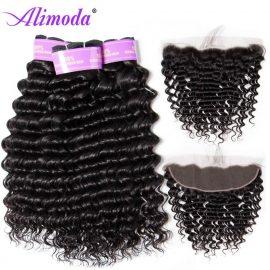 alimoda hair deep wave hair bundles with frontal 5
