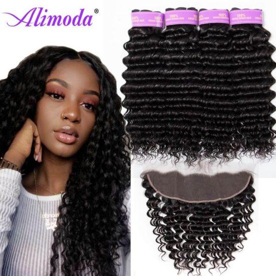 alimoda hair deep wave hair bundles with frontal 6