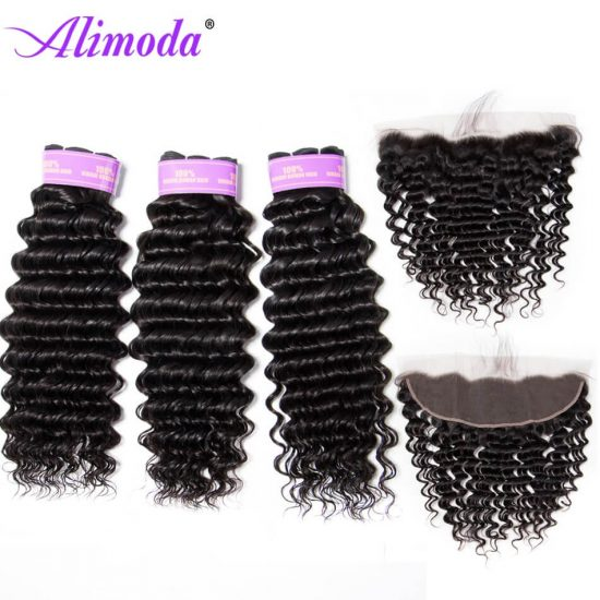 alimoda hair deep wave hair bundles with frontal 7