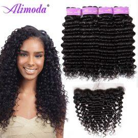 alimoda hair deep wave hair bundles with frontal 8